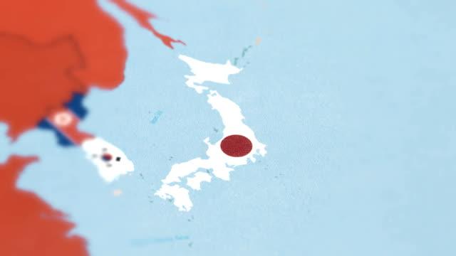 Japon avec drapeau National sur la carte du monde