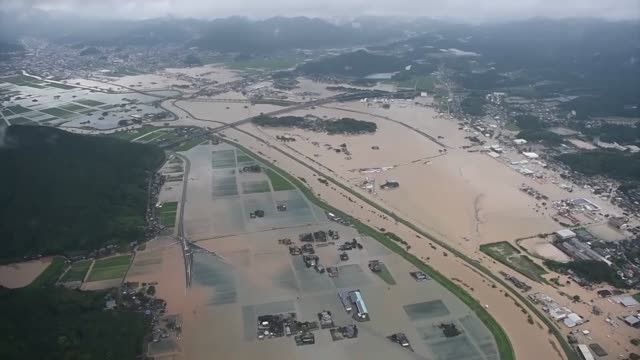 residential area in takeo, saga prefecture, southwestern japan, seen in this photo taken from a kyodo news helicopter on aug. 28 are flooded... - fukuoka prefecture stock videos & royalty-free footage