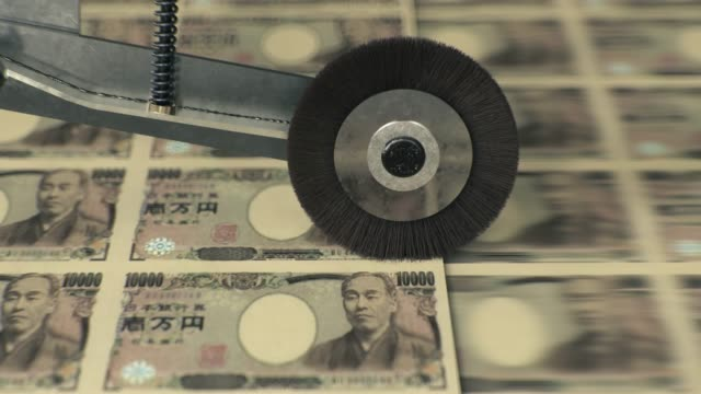 japanese 10000 yen banknotes being printed - pressa da stampa video stock e b–roll