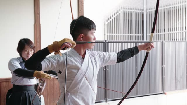 japanese archers practicing in their dojo - martial arts stock videos & royalty-free footage