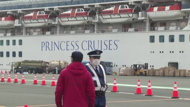 japanese authorities prepare to evacuate some elderly and frail passengers from the quarantined cruise ship provided their tests for the new... - cruise stock videos & royalty-free footage