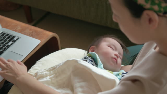 4k, japanese baby and mother. - japanese mom stock videos & royalty-free footage