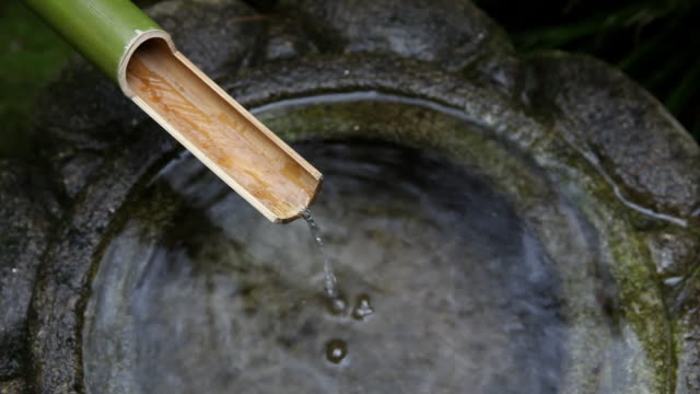 stockvideo's en b-roll-footage met hd japanese bamboo water fountain - bamboo plant