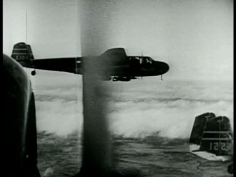 japanese bombers in flight w/ propeller close fg. aerial city of honolulu hawaii u.s. territory. aerial bomber & crew. - pacific war video stock e b–roll