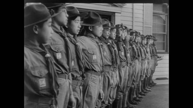 japanese boys take boy scout pledge in the us during wwii - boy scout stock videos & royalty-free footage
