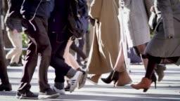 Japanese businessman walking to work