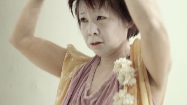 cu japanese butoh dancer using hair spray / new york city, new york, usa - hair spray stock videos & royalty-free footage