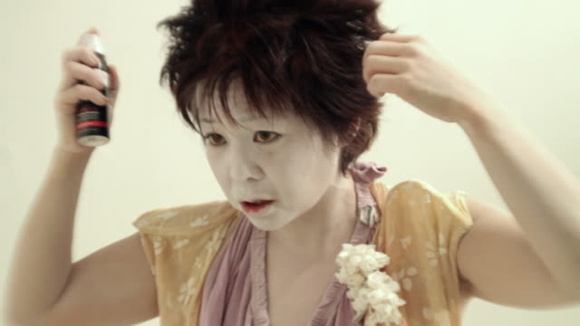 cu japanese butoh dancer using hair spray / new york city, new york, usa - only mid adult women stock videos & royalty-free footage