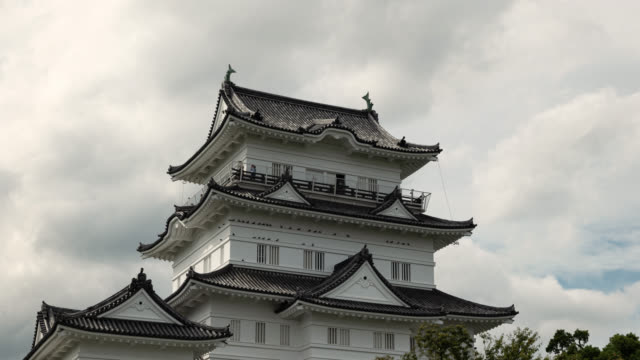 japanese castle (time lapse/tilt up) - samurai stock videos & royalty-free footage