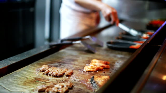 japanese chef cooking teppanyaki , japanese food. - pressure point stock videos & royalty-free footage