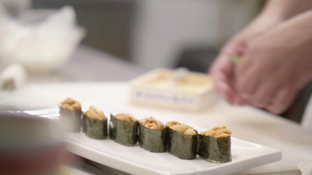 japanese chef preparing sushi - japanese food stock videos & royalty-free footage