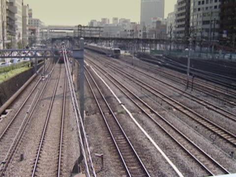 Japanese Commuter Trains in Yokohama. Summer.