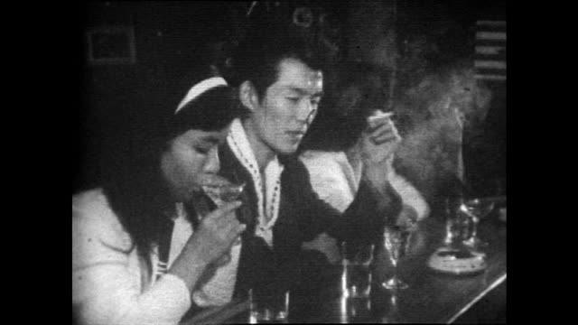 japanese couple drink cocktails at bar in tokyo; 1958 - 1958 stock videos & royalty-free footage
