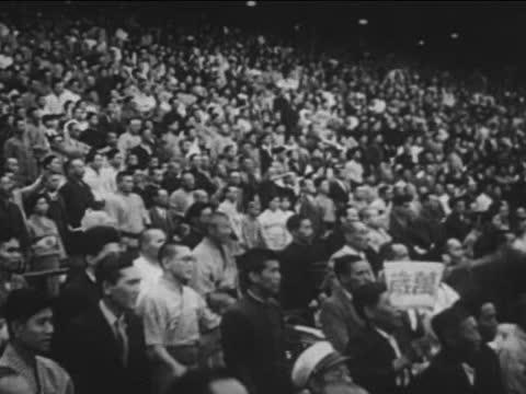 japanese crowd banzai saluting to emperor hirohito - 1942 stock videos & royalty-free footage