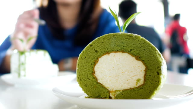 japanese culture  : softness green tea cake - milk tea stock videos & royalty-free footage