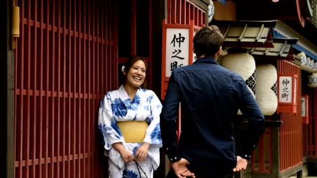 japanese date - yukata robe stock videos & royalty-free footage