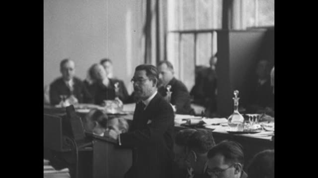 japanese delegate yosuke matsuoka speaks to assembled members of league of nations defending japan's occupation of manchuria - mandschurei stock-videos und b-roll-filmmaterial