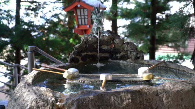 Japanese dragon statues spouting water