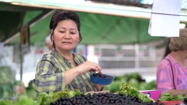 japanese ethnicity woman buying jabuticaba / jaboticaba on farmers market - mercato di prodotti agricoli video stock e b–roll