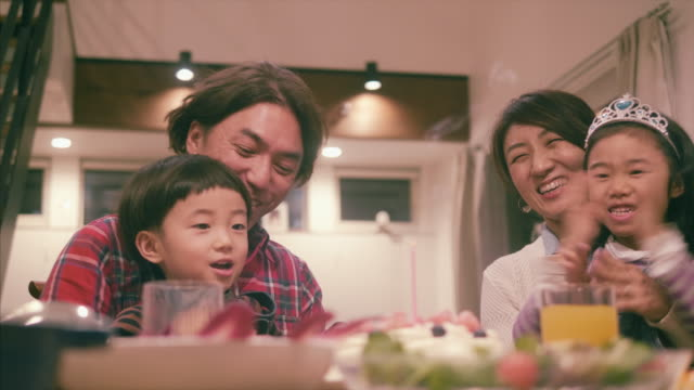japanese family celebrates a birthday - family with two children stock videos & royalty-free footage