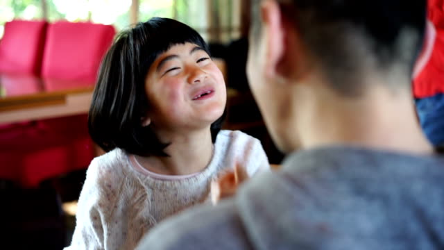 japanese father and daughter having fun together - single father stock videos & royalty-free footage