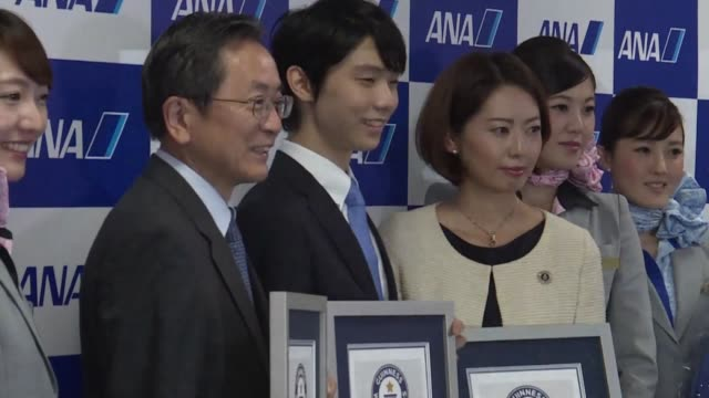 Japanese figure skater Yuzuru Hanyu receives three certificates for Guinness World Records set during the 20152016 ISU Grand Prix final in Barcelona