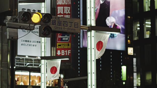japanese flags on ginza - segnaletica stradale video stock e b–roll