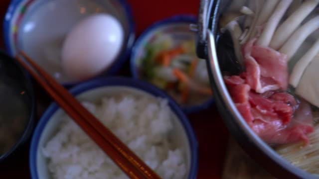 japanese food, nabe sukiyaki style - sukiyaki stock videos and b-roll footage