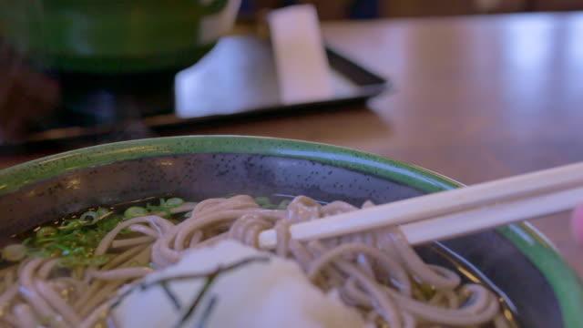 japanese food soba ramen japanese noodle food - soba stock videos & royalty-free footage