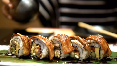 japanese food : sushi roll - japanese food stock videos & royalty-free footage