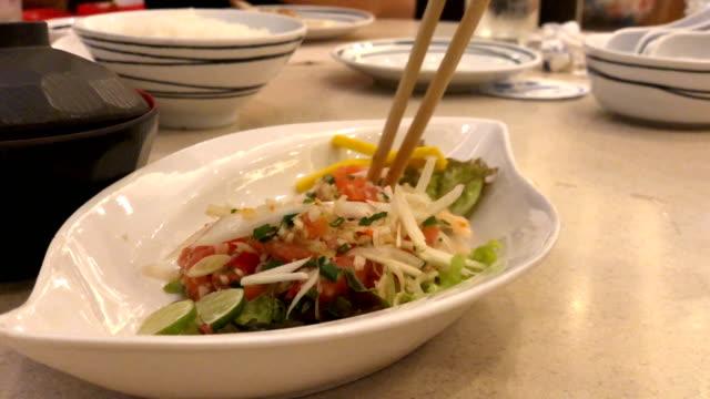 japanese food - salmon salad stock videos & royalty-free footage