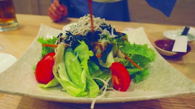 4k: japanese food, - salmon salad stock videos & royalty-free footage