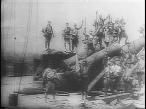 japanese footage of earlier us surrender at corregidor / japanese soldiers marching carry flags / japanese generals may include lieutenant masahara... - japanese surrender stock videos and b-roll footage