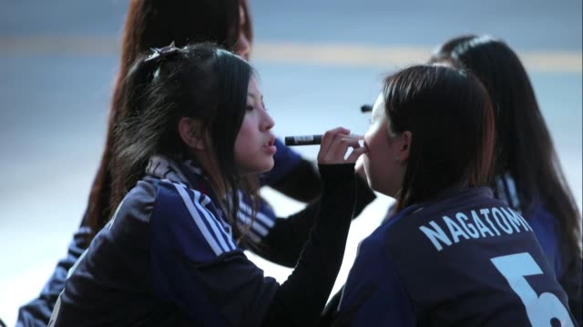 japanese football fans prepare for the international friendly match between japan and latvia at home's stadium kobe on february 6 2013 in kobe japan... - international match stock videos & royalty-free footage