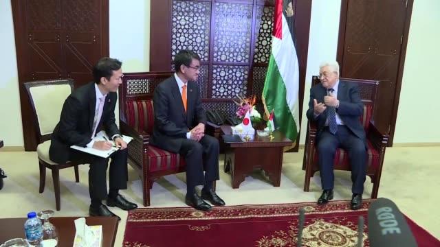 Japanese Foreign Minister Taro Kono met with Palestinian president Mahmud Abbas in Ramallah Monday