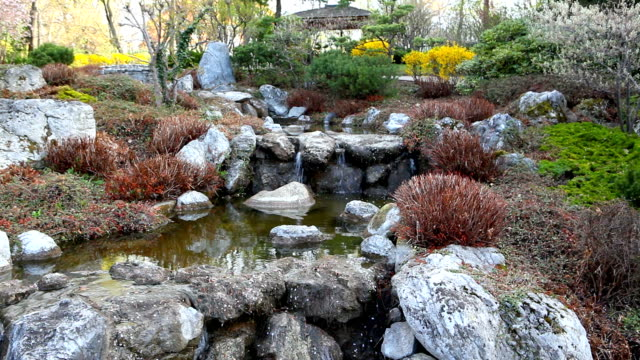 Japanese Garden with flowing water