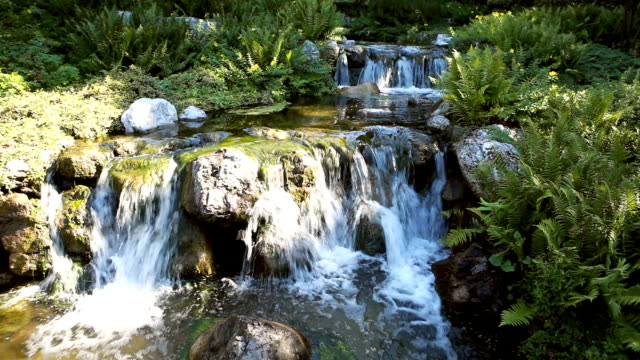 japanese garden with waterfall - oriental garden stock videos and b-roll footage