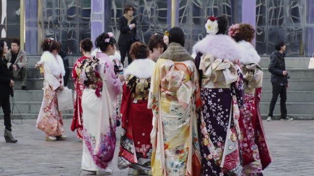 japanese girls in kimono - ceremony stock videos & royalty-free footage