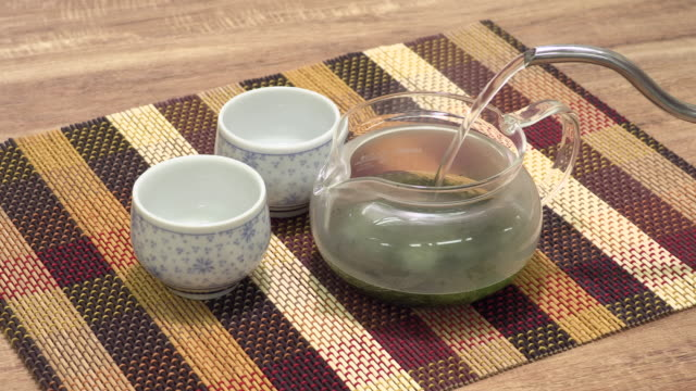 japanese green tea - teapot stock videos & royalty-free footage