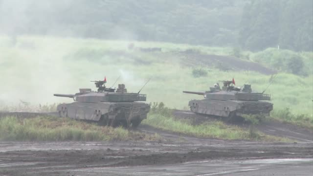 japanese ground self defense forces finish annual live fire exercise at the foot of mount fuji clean japanese ground self defense forces on august 25... - japan self defense forces stock videos and b-roll footage