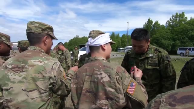 japanese ground self-defense force members and 4th infantry brigade combat team , 25th infantry division, u.s. army alaska soldiers, and 3d air... - infantry stock videos & royalty-free footage