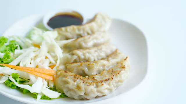 japanese gyoza in plate - food state stock videos & royalty-free footage