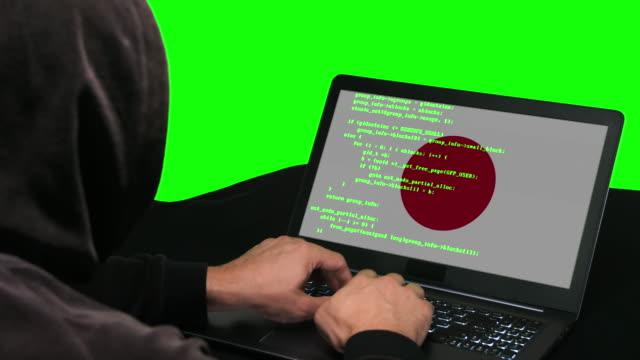 日本のハッカーは、その緑色の画面の背景に日本の旗を持つ彼のラップトップにコードハッキングコードを入力します - アノニマス点の映像素材/bロール