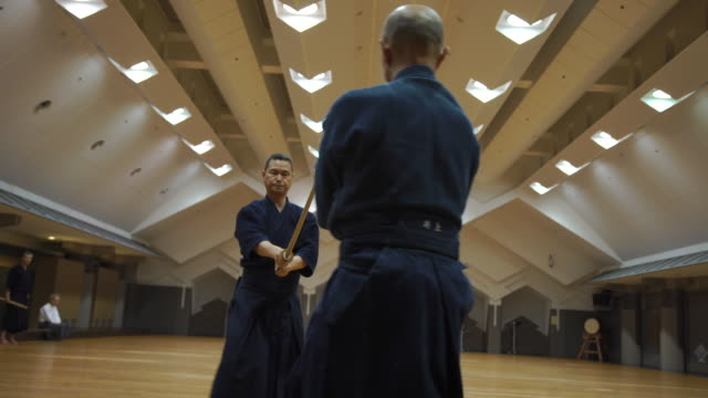 japanese kendo masters in training class - samurai stock videos & royalty-free footage