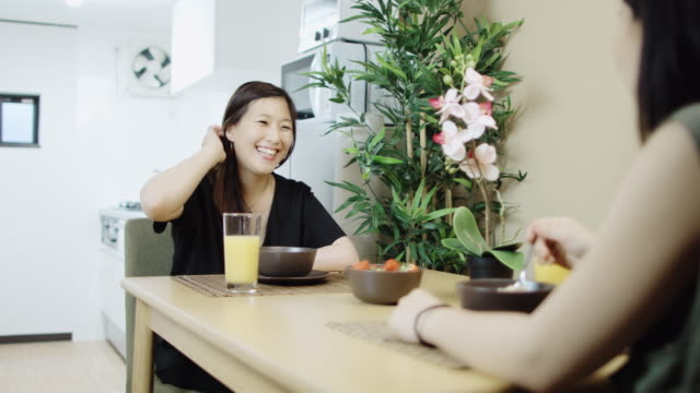 japanese lesbian couple eating breakfast - only japanese stock videos & royalty-free footage