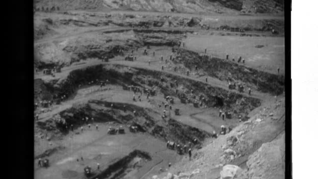 japanese major general raishiro sumida inspects an opencut coal mine in french indochina where miners dig anthracite coal and load it into handcarts... - anthracite coal stock videos & royalty-free footage