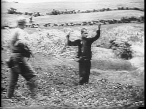 japanese man crawls in tall grass surrenders to american troops / a japanese soldier carries man out of a cave / a japanese soldier emerges from... - prisoner stock videos & royalty-free footage