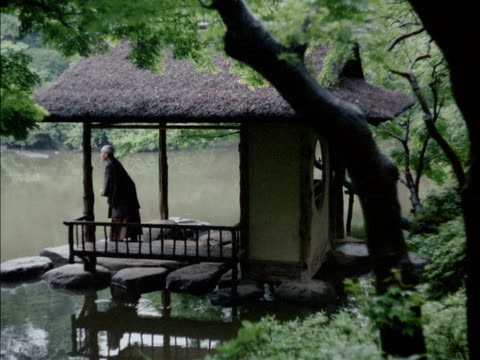 japanese man in kimono throwing seeds into pond, sitting in pavilion / reflections of trees on surface of rippling water. japanese man in lakeside... - パビリオン点の映像素材/bロール
