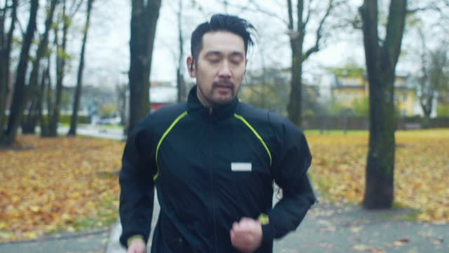 Japanese Man Runs in a Rainy Day (slow motion)