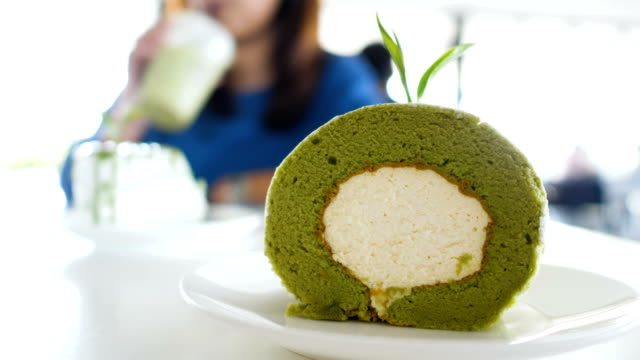 japanese matcha tea cake - dessert stock videos & royalty-free footage